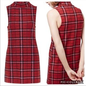 Topshop Plaid Funnel Neck Tunic Dress Sz 4